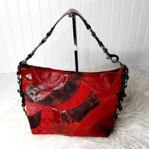 Coach Carly Patchwork Red Snake Leather Purse